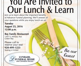 Join Us at Our Advance Planning Lunch & Learn on Tuesday, Aug 23 at 12pm at Bay Family Restaurant